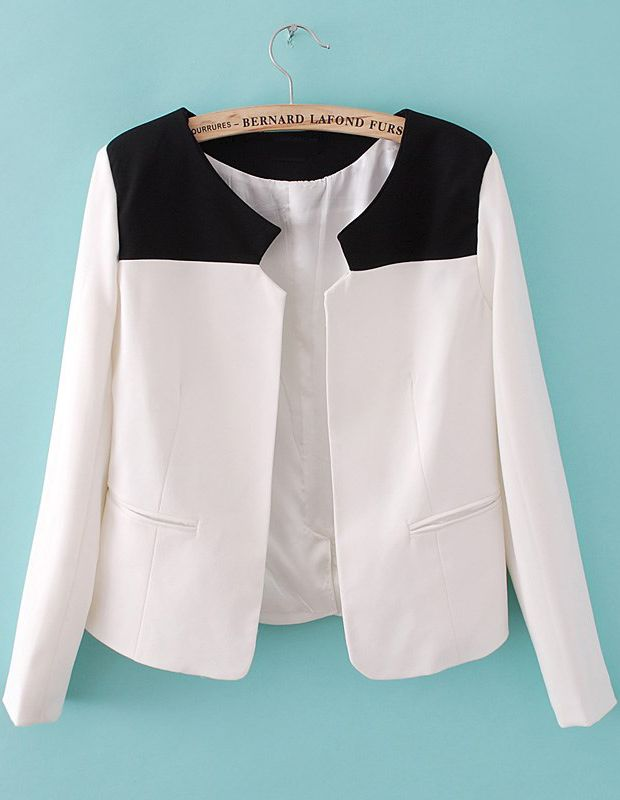 White Contrast Black Shoulder Long Sleeve Pockets Blazer