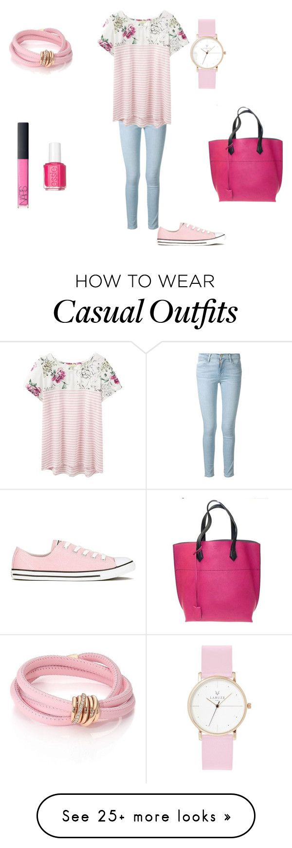 """Casual"" by black-on-white on Polyvore featuring Frame Denim, Joules, Converse, Essie, NARS Cosmetics, Fendi and de Grisogono"