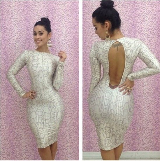 Birthday Dress For Womens: Exquisite 2014 Fashion Summer Long Sleeve Rock Snake Knee