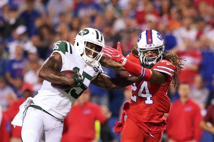 Brandon Marshall of the New York Jets is tackled by Stephon Gilmore of the Buffalo Bills resulting in a knee injury to Marshall during the first half at New Era Field on on Thursday, Sept. 15, 2016, in Orchard Park, N.Y.