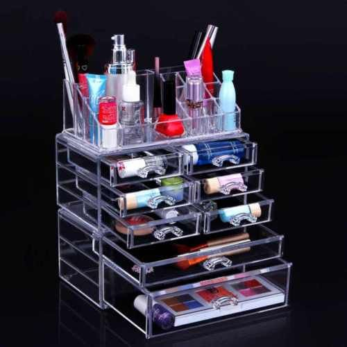 Makeup-Storage-Box-Case-Cosmetic-Organizer-Acrylic-Holder-Clear-Drawers-3-Pieces