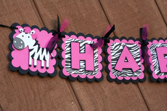 Fuschia Pink and Zebra Print Deluxe Zebra Happy Birthday Banner, Zebra Birthday, Pink and Zebra Print, Zebra Bridal Shower via Etsy