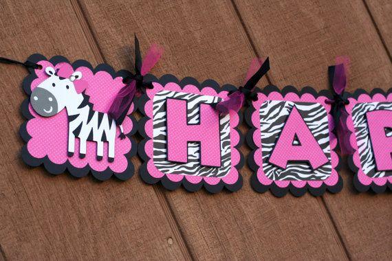 Fuschia Pink and Zebra Print Deluxe Zebra Happy Birthday Banner, Zebra Birthday, Pink and Zebra Print, Zebra Bridal Shower via Etsy