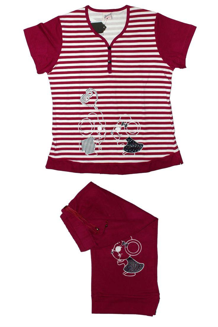Пижама в полоску бордового цвета