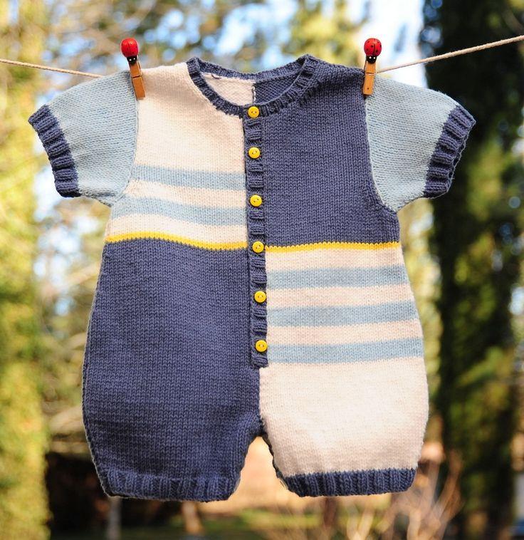 layette barboteuse coton 3-6 mois neuve tricotée main : Mode Bébé par com3pom
