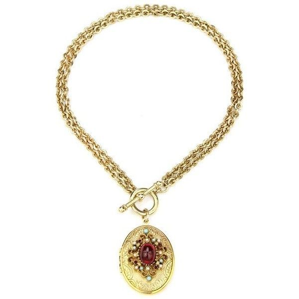 Royal charm ruby stone locket gold necklace ($219)  liked on Polyvore featuring jewelry necklaces gold locket necklace 24k gold necklace charm locket necklace gold stone necklace and 24k gold jewelry
