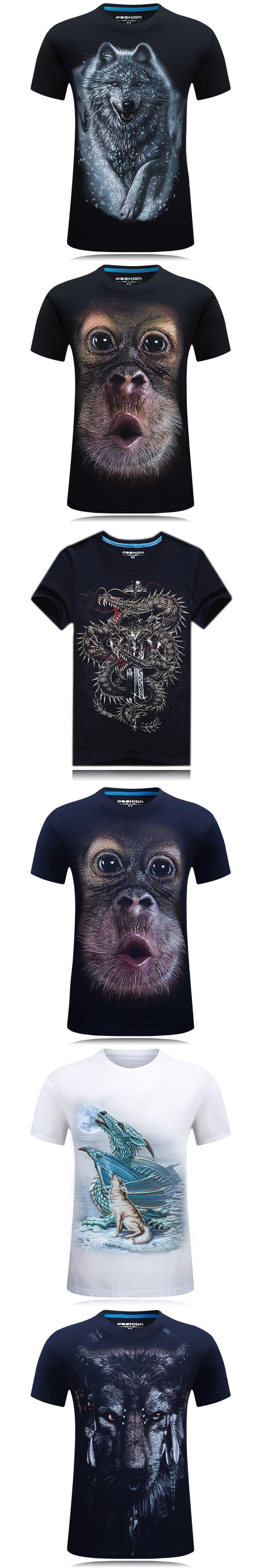 2017 Cotton Summer Men Tshirt Breathable Male Hipster Tee Short Sleeve Hip Hop Orangutan Animal Printing Cool T shirts YN10057