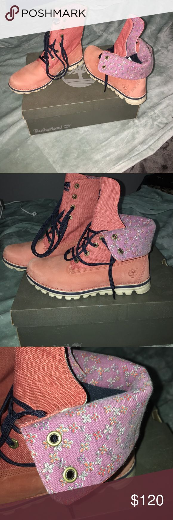 Timberland Earthkeeper boots You can wear them two different ways, with the tops up or fold them down with purple floral print showing! I'd say it's a coral-ish color sort of pinkish Timberland Shoes Lace Up Boots