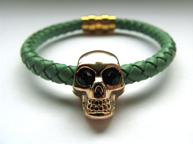 Mint leather skull bracelet.