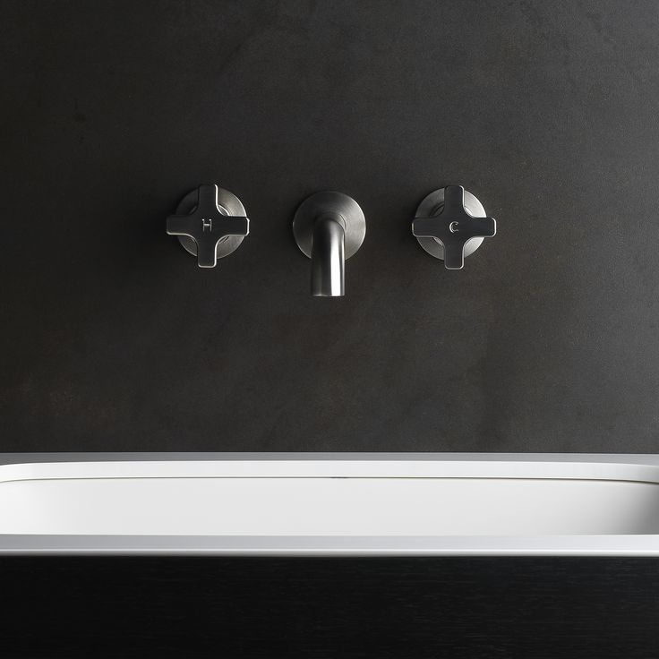 Give your tired bathroom an instant rejuventaion with our Chisel D Cross Taps in Brushed Nickel. This Chisel D Wall Tap Pr is also availaible with ceramic disc valves for precise and effortless operation, and is here paired with the Pegasi Basin Spout which have identical flange diameters and coordinated styling.