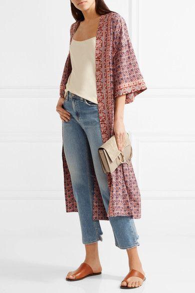 SEA - Printed Silk Kimono - Red - x small