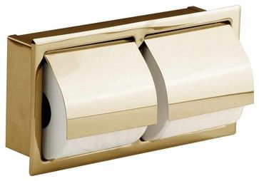 Double Brass Recessed Toilet Paper Holder - contemporary - Toilet Accessories - The Renovator's Supply, Inc.