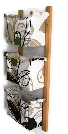 Wall hanging organizer - with 3 pockets - Green olives, leaves in black and beige colour - IKEA MAJKEN beige fabric. $95.00, via Etsy.