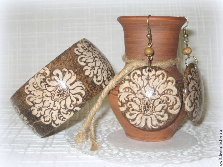 Купить 2 вида Браслет, серьги Шоколадный и Джинсовый Винтаж. Коричневый, бохо - браслет, винтаж