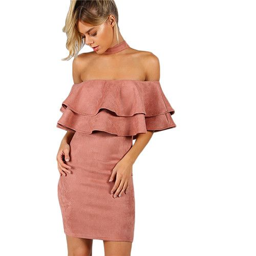 Suede Layered Dress Women Pink Choker Neck Sexy Off Shoulder Body con Summer Dresses New Ruffle Zip Up Party Dress
