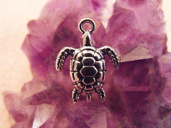Tibetan Silver Sea Turtle Pendant Charms Lead Free Sea Turtle Pendant Charms Antiqued Silver Turtle Charms Silver Tone Pendant Charms