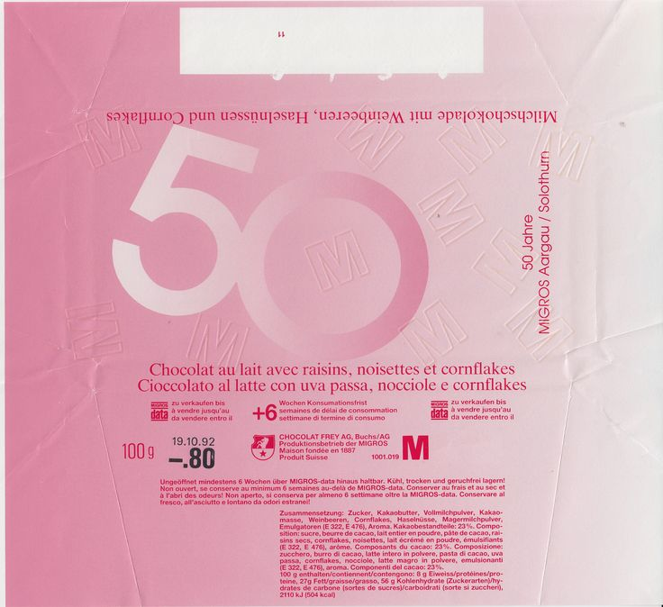 50 Jahre Migros Aargau/Solothurn Milchschokolade mit Weinbeeren, Haselnüssen und Cornflakes 1991