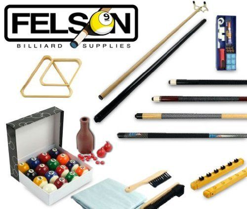 Billiards Accessories Kit - 32 Piece by Felson Billiard Supply by FELSON BILLIARD SUPPLIES. $89.99. Billiard players of all skill levels will appreciate this Billiard Kit from Felson Billiard Supplies.   Each kit contains a set of 16 billiard balls, four cue sticks, a bridge stick, a nine-ball diamond, a triangle, a six-cue Roman rack, an under rail brush, an 8-inch table brush, a plastic tally bottle, two rubber chalk holders, a tip repair kit and a clear, 8-foot table cover. ...