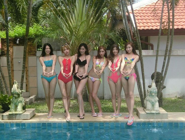 Pool party with 6 beautiful asian girl and they wears bikini or swimsuit #asiangirl