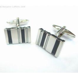 Five Bar Black Cufflinks - A classically designed set of rhodium plated cufflinks featuring black bands.