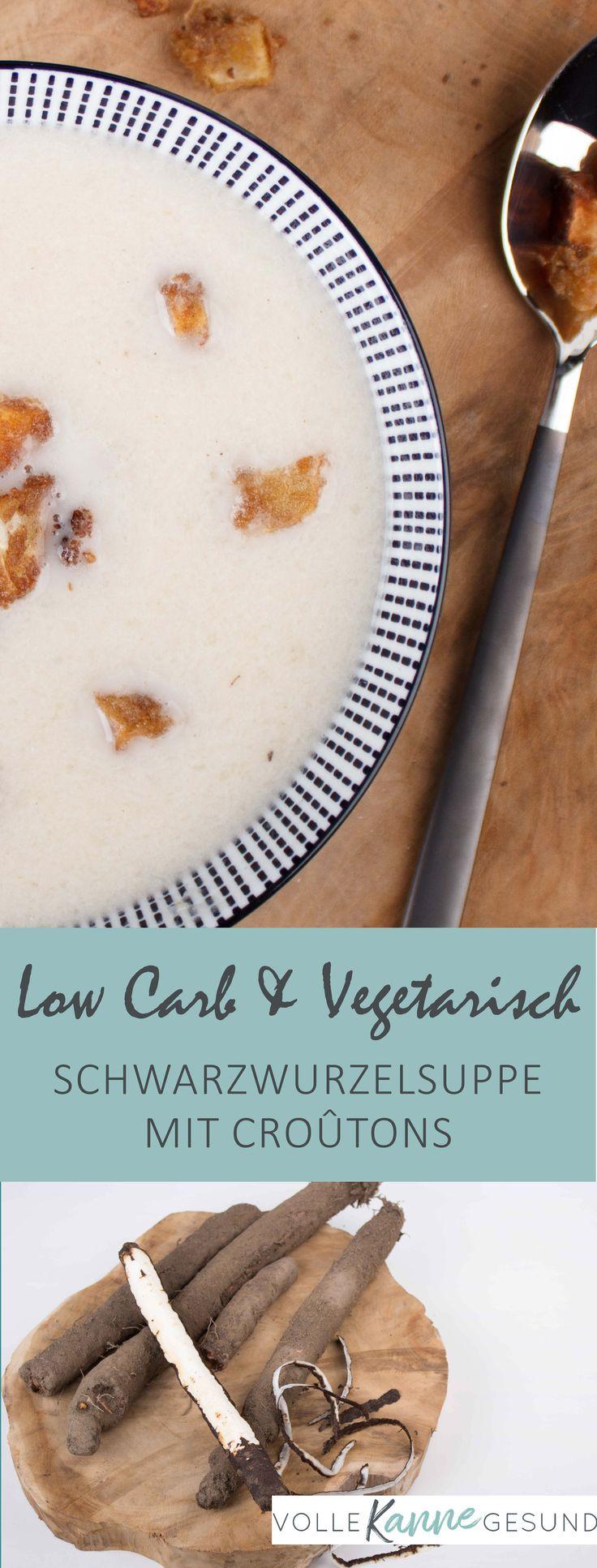 Eine Low Carb-Rezept für eine Suppe mit Croûtons - statt Brot nimmst du Sellerie, panierst mit Ei und Flohsamenschalen und frittierst sie in Schmalz. Fertig ist die köstliche Suppeneinlage. Für die LCHF-Ernährung geeignet, vegetarisch und Low Carb. Schwarzwurzeln sind übrigens lange unbeachtet gewesen, inzwischen findet man die langen schwarzen Stangen aber häufiger im Supermarkt. #lchf #cleaneating #lowcarbrezept #lowcarbrecipes #lchfrezepte #lchfrezepte #abnehmen #weightloss…