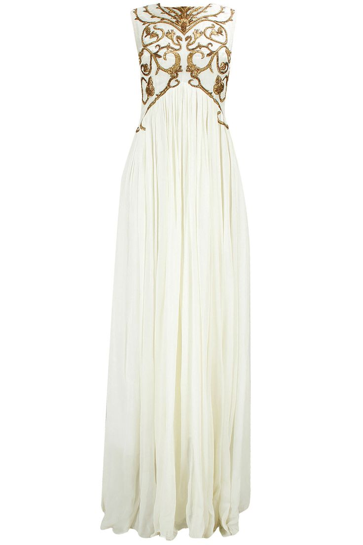 Off-white embroidered pleated gown available only at Pernia's Pop-Up Shop.