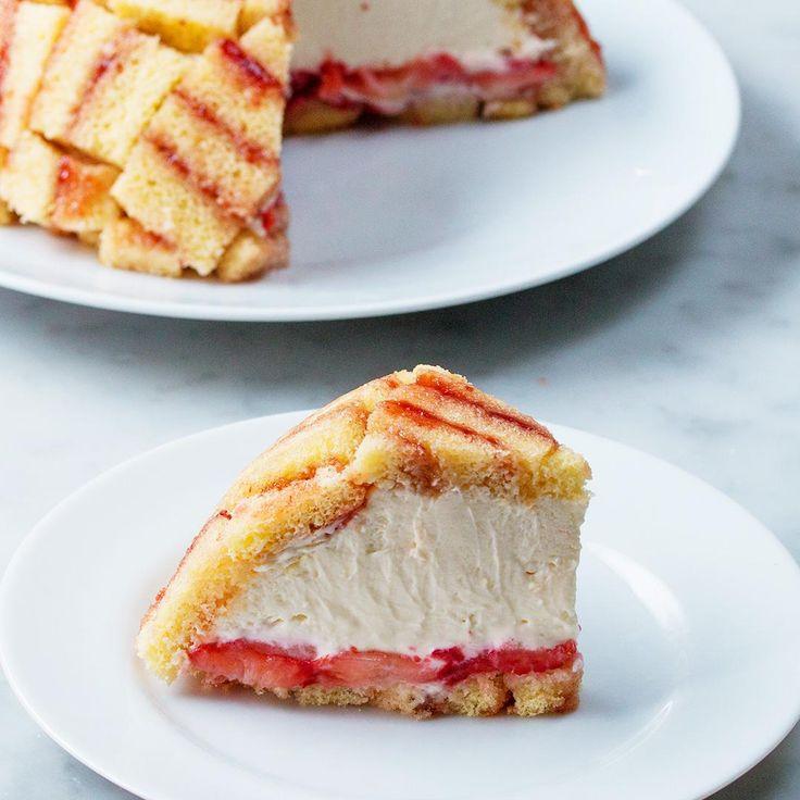 Strawberry Shortcake Cheesecake Dome (Charlotte Royale) Recipe by Tasty