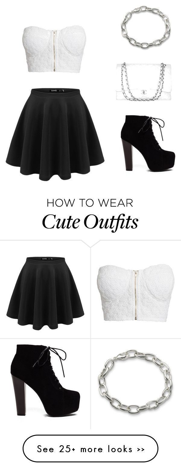 """Sweet black and white outfit"" by elise-clement on Polyvore - #on #elisecle"