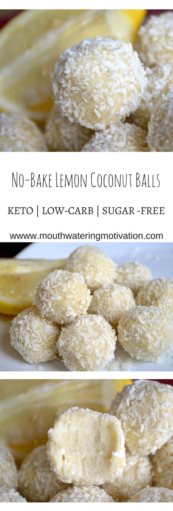 No-Bake Lemon Coconut Balls #keto #lowcarb #lemon #coconut