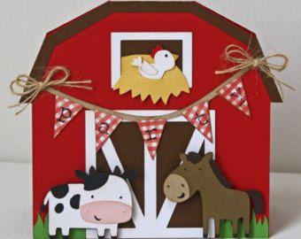 Invitaciones de cumpleaños de la granja / invitaciones granero rojo de la vaca / caballo / juego de 12