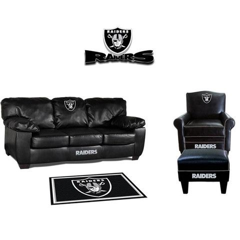 Charmant Oakland Raiders Leather Furniture Set At Www.SportsFansPlus.com