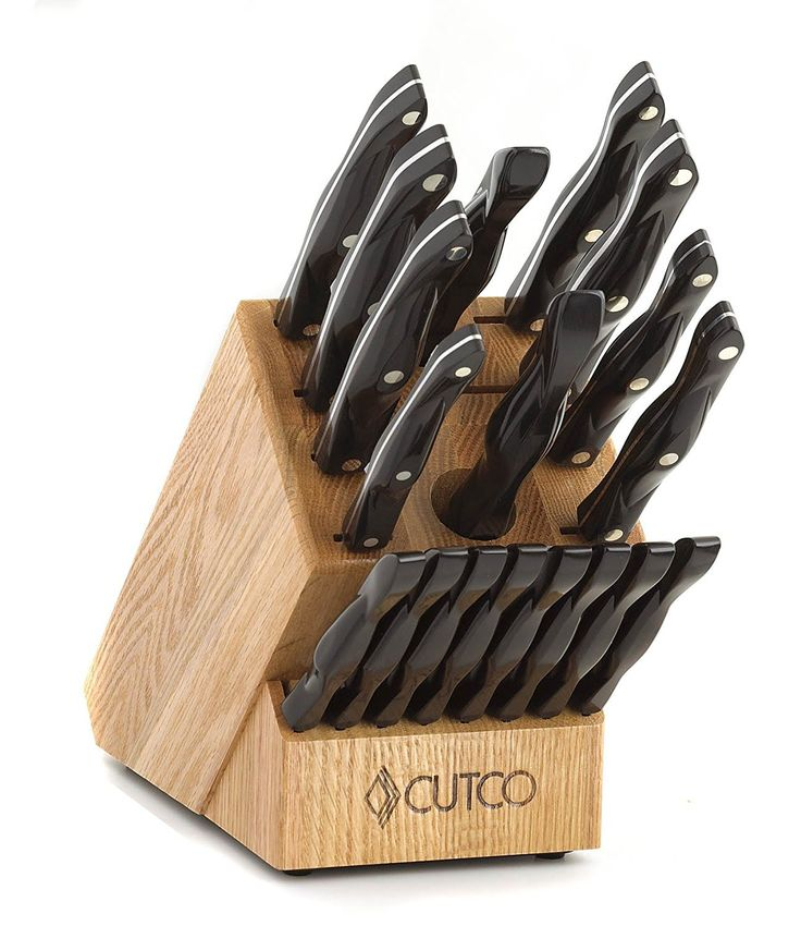 """Necessary details"" CUTCO Model 2018 Homemaker+8 Set............Includes (8) #1759 Table Knives, (10) Kitchen Knives & Forks, #1748 Honey Oak knife block, #82 Sharpener, and #125 Medium Poly Prep cutting board.......... High Carbon Stainless blades and Classic Brown handles (sometimes called ""Black"").........in factory-sealed plastic bags"