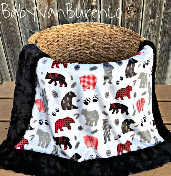 Bear Winter Patchwork Minky Baby Blanket Woodland Blanket
