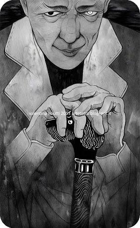 Иллюстрации к «Мастеру и Маргарите»: Миниатюры Валентины Шутти (Valentina Sciutti). Воланд, хитро прищурившись, что-то замышляет.