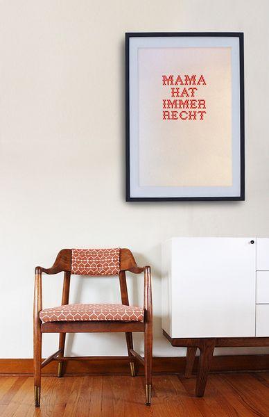 "Zum Muttertag: Druck ""Mama hat immer Recht"" // Mother's Day cross stitch print ""Mum is always right"" by Pap-Seligkeiten via DaWanda.com"