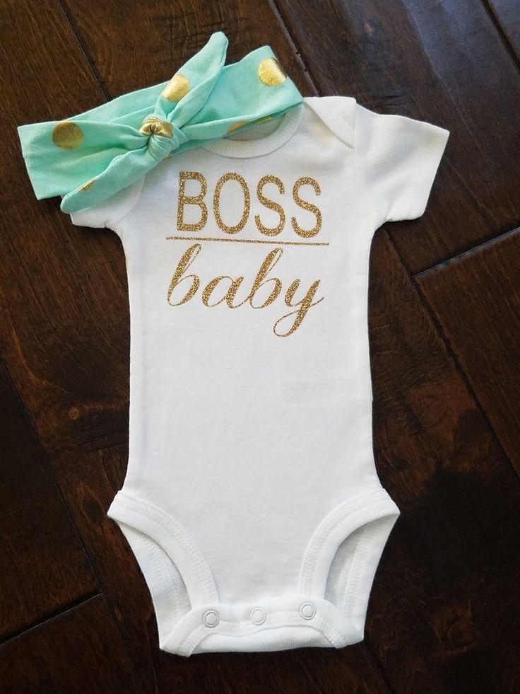 Gold Glitter Boss Baby Onesie Funny Baby Onesie