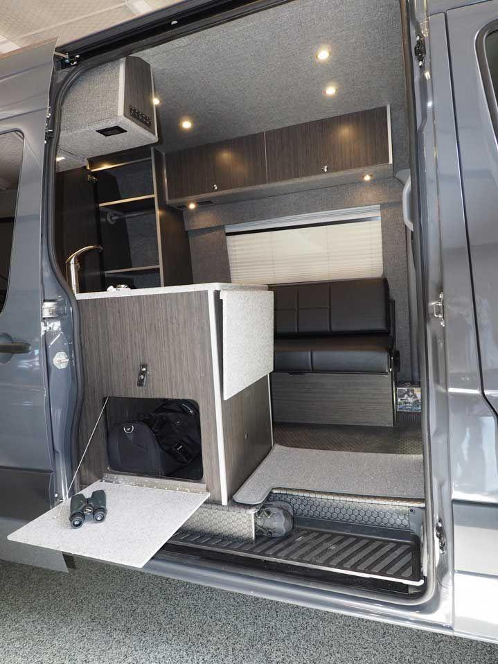 87cb3cbe66 Inteior view of upgraded bath in a custom Sportsmobile van conversion.   tinyhousevan  tinyhomeconversion