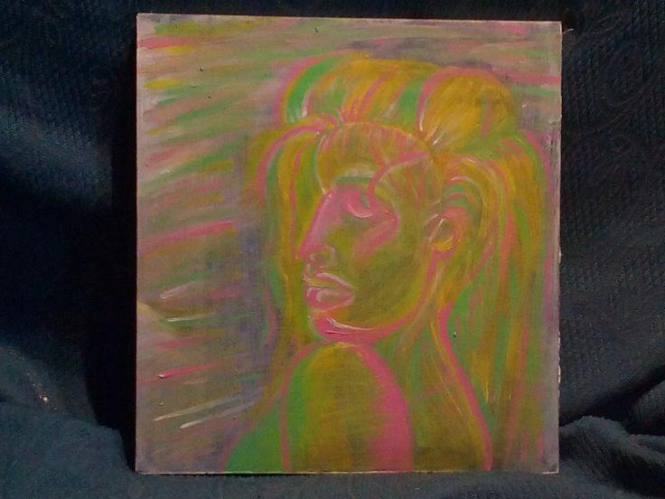 """Foto: """"donna decisa"""" dipinto su cartongesso 30x30cm al costo di 35€ trattabili"""