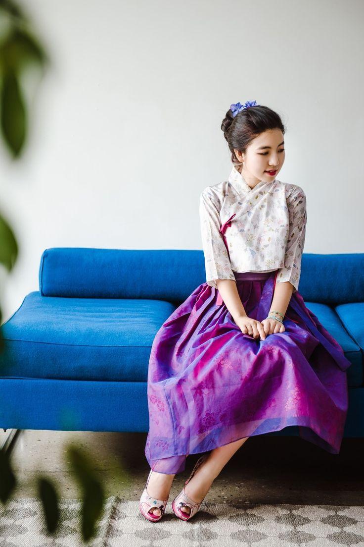 투톤 보라 생활한복 허리치마 : 다래원 한복