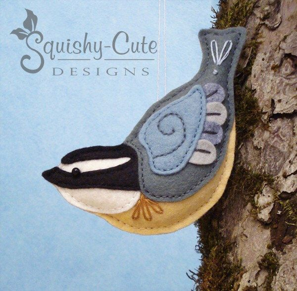 Nuthatch Sewing Pattern PDF - Backyard Bird Stuffed Ornament - Felt Plushie - Norman the Nuthatch - Instant Download by SquishyCuteDesigns on Etsy https://www.etsy.com/listing/218158512/nuthatch-sewing-pattern-pdf-backyard
