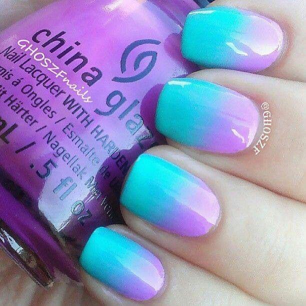 Blue & Lavender ombre nails