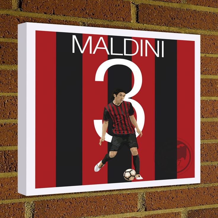 Square Canvas Wrap Soccer Art Print Paolo Maldini Canvas Print - AC Milan Soccer Poster wall decor, home decor, AC Milan and Italian Legend by Graphics17 on Etsy