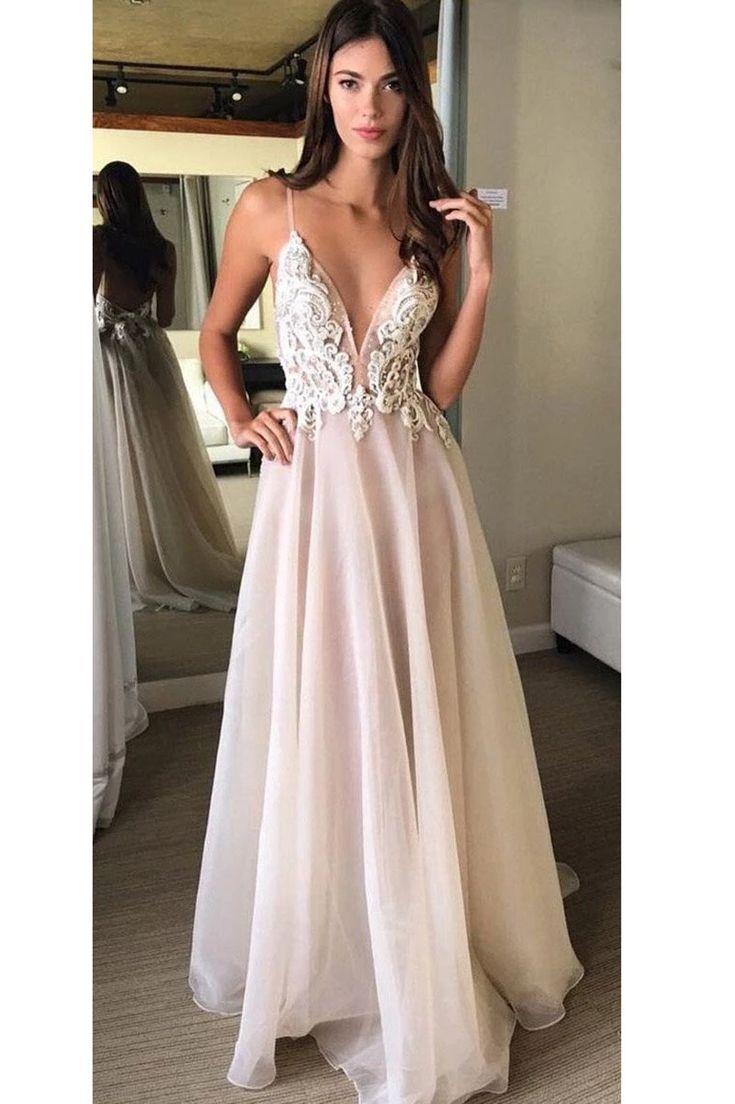 Prom Dresses UK, A-Linie V-Ausschnitt Spaghettiträgern Perlen Applikationen Organza – Wikip …   – prom dresses