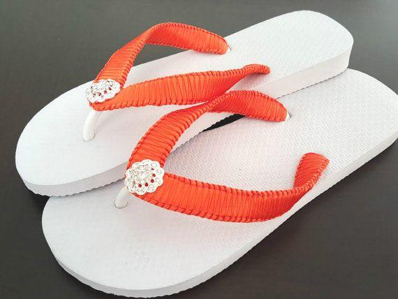 Orange Bridal Flip Flops, Cariris Flip Flops, Orange Flip Flops, Bridesmaid Flip Flops, Flower Girl Flip Flops, Torrid Orange Flip Flops
