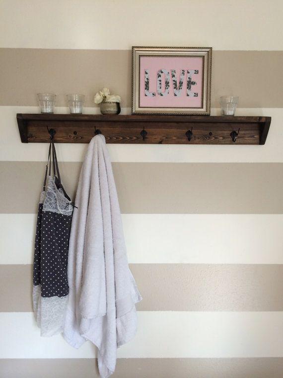 five hook reclaimed wood towel rack // coat rack by kayandedna