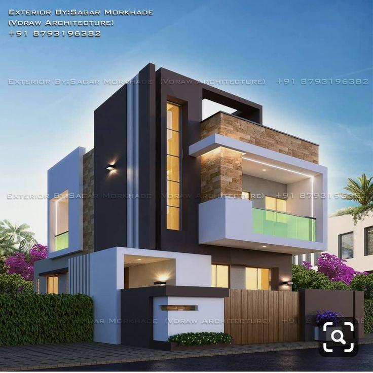 Modern House Bungalow Exterior By Sagar Morkhade Vdraw: Pin By Duongmai On Ngôi Nhà Hiện đại In 2019