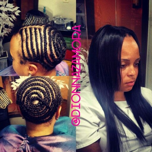 Ribbon 2 braid patterns for sew in bob middle part closure straight ...