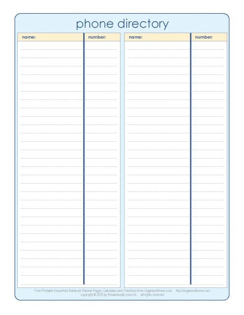 phone directory template - thelongwayup.info