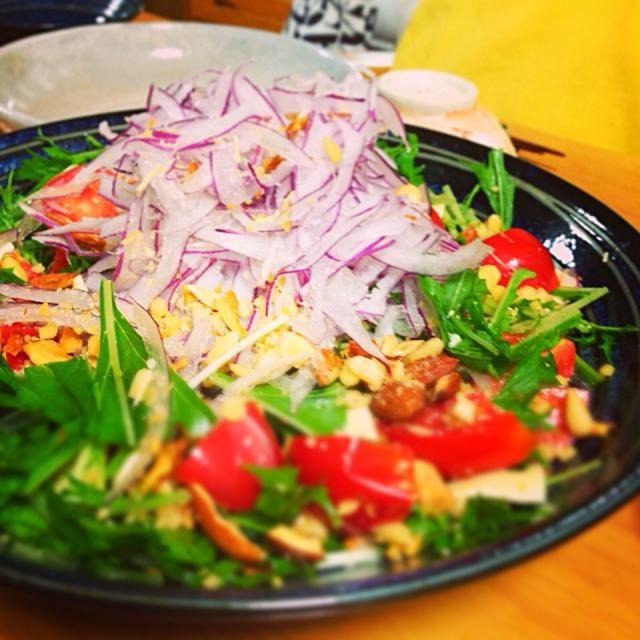 タイ風のドレッシングを添えてo(^_-)O - 7件のもぐもぐ - 紫玉ねぎと水菜のナッツのアジアンサラダ by princeanne
