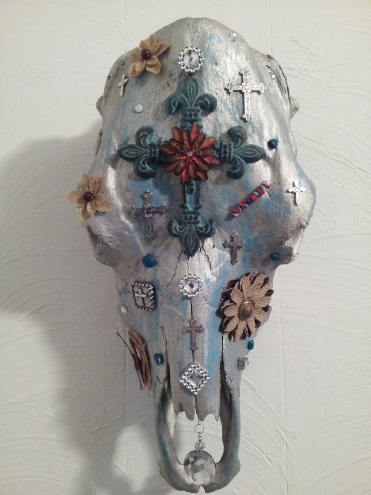 Decorated Cow Skull Skull Art Pinterest Skulls Cow